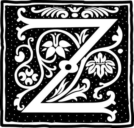letter z: English alphabet with flowers decoration, monochrome letter Z