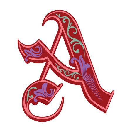 capitel: Hermosa decoración alfabeto inglés, de estilo gótico, la letra A