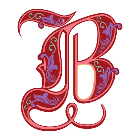 Beautiful decoration English alphabets, Gothic style, letter B