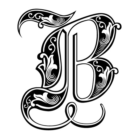 Bela decoração alfabetos ingleses, estilo gótico, letra B Ilustración de vector