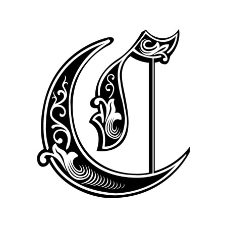 Beautiful decoration English alphabets, Gothic style, letter C
