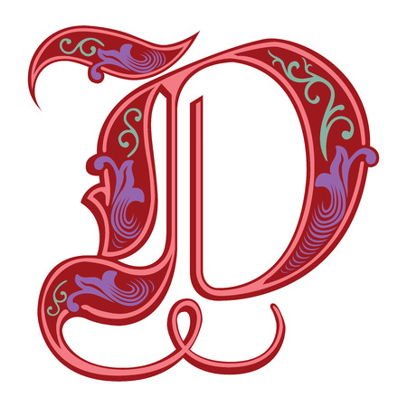 english letters: Beautiful decoration English alphabets, Gothic style, letter D Illustration