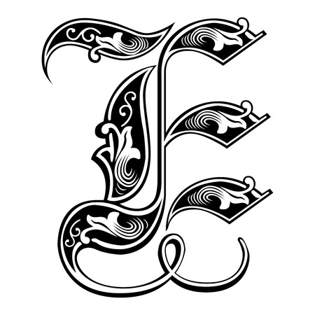Beautiful decoration English alphabets, Gothic style, letter E Çizim