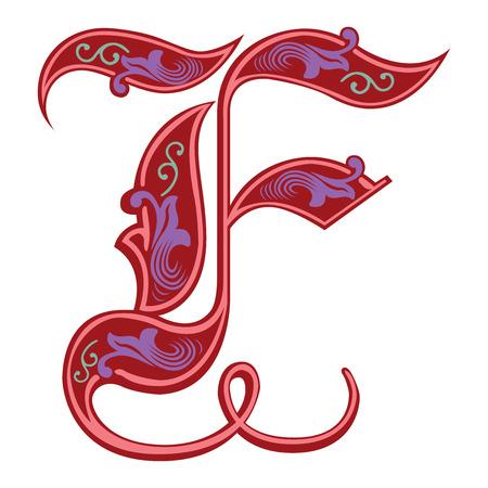 Beautiful decoration English alphabets, Gothic style, letter F Illustration