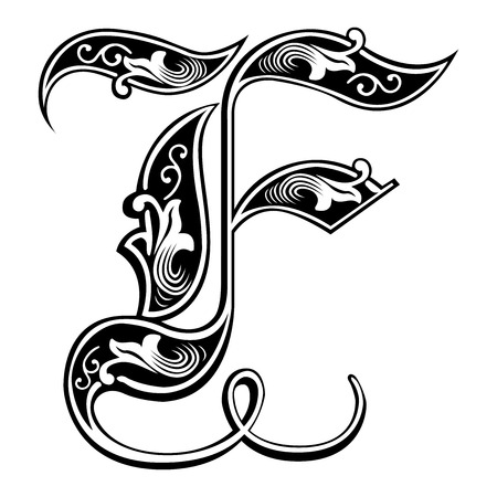 english: Beautiful decoration English alphabets, Gothic style, letter F Illustration