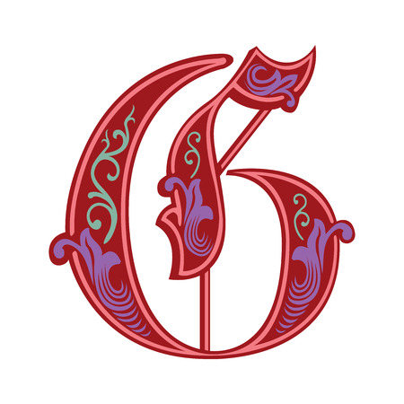 Beautiful decoration English alphabets, Gothic style, letter G Vector