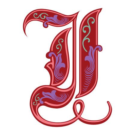 Beautiful decoration English alphabets, Gothic style, letter I Illustration