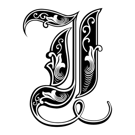 Beautiful decoration English alphabets, Gothic style, letter I Illustration