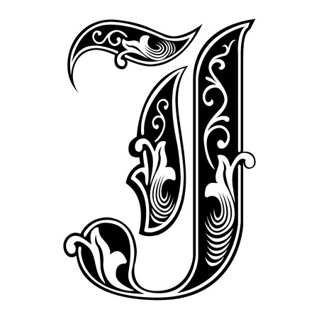 Beautiful decoration English alphabets, Gothic style, letter J Illustration