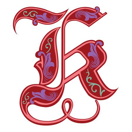 gothic style: Beautiful decoration English alphabets, Gothic style, letter K
