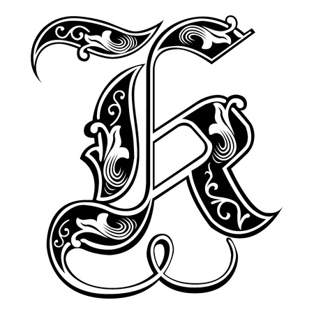 Beautiful decoration English alphabets, Gothic style, letter K