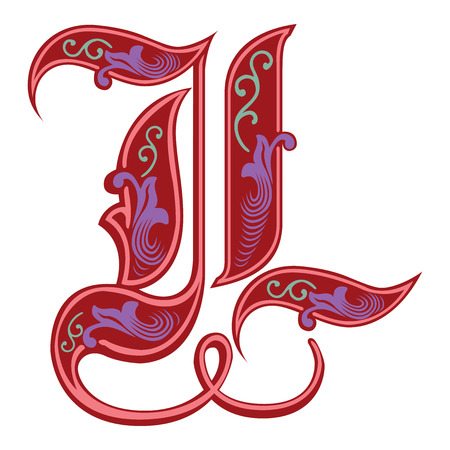 Beautiful decoration English alphabets, Gothic style, letter L