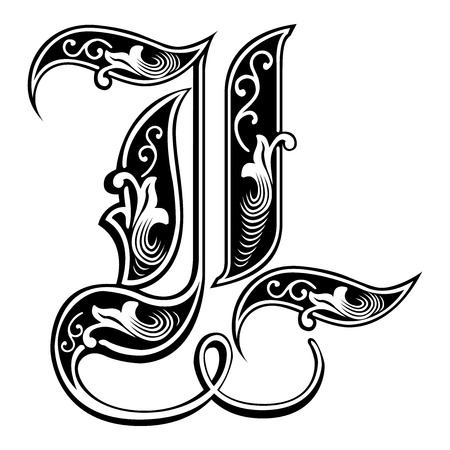 tatto: Beautiful decoration English alphabets, Gothic style, letter L