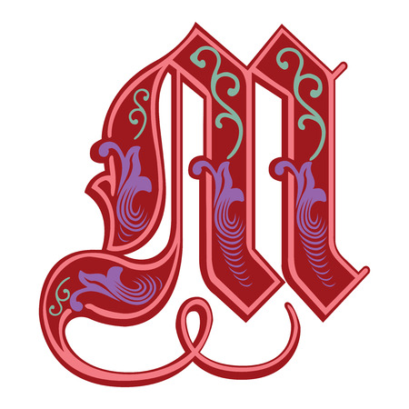 Beautiful decoration English alphabets, Gothic style, letter M Vector