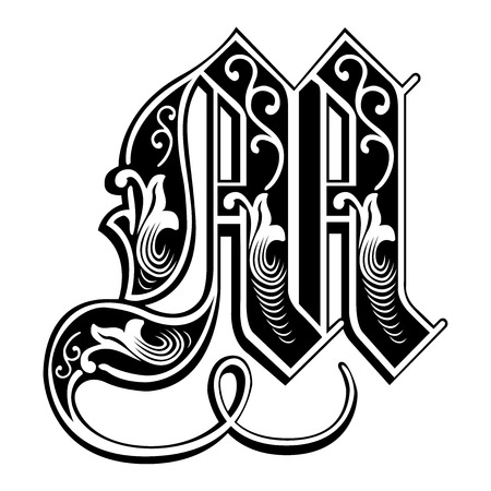 literature: Beautiful decoration English alphabets, Gothic style, letter M