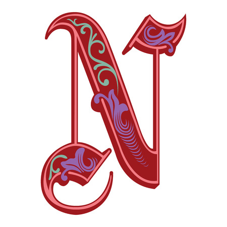 Beautiful decoration English alphabets, Gothic style, letter N Vector