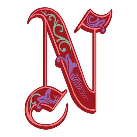 Beautiful decoration English alphabets, Gothic style, letter N