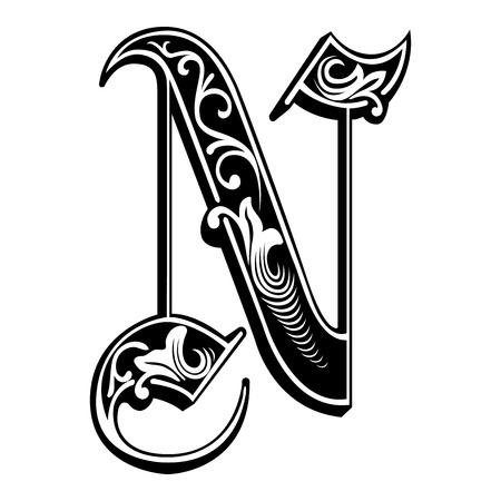 英語アルファベットの美しい装飾、ゴシック様式、N 文字  イラスト・ベクター素材