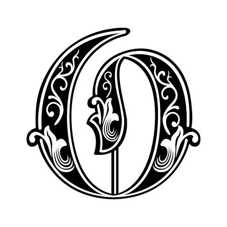 Hermosa decoración alfabeto inglés, de estilo gótico, la letra O