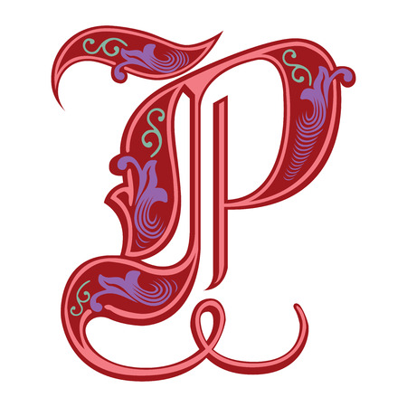 Beautiful decoration English alphabets, Gothic style, letter P