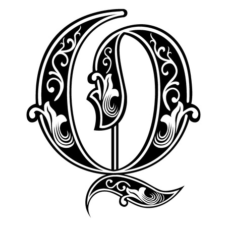 Beautiful decoration English alphabets, Gothic style, letter Q Vector