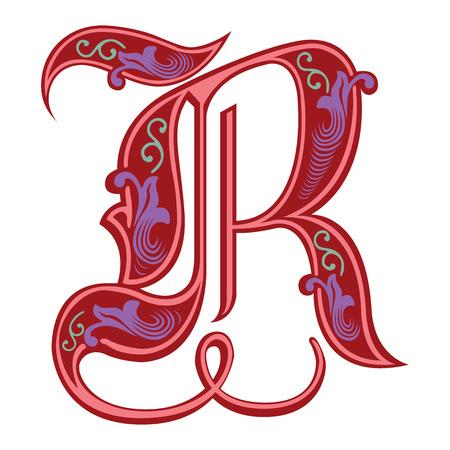 Hermosa decoración alfabeto inglés, de estilo gótico, la letra R