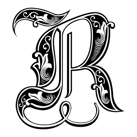 Beautiful decoration English alphabets, Gothic style, letter R Vector