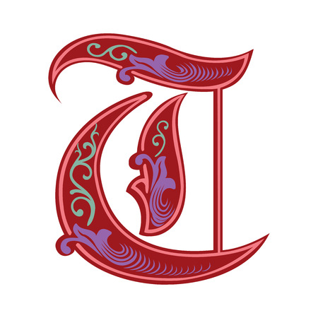 english: Beautiful decoration English alphabets, Gothic style, letter T