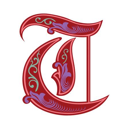 Hermosa decoración alfabeto inglés, de estilo gótico, la letra T