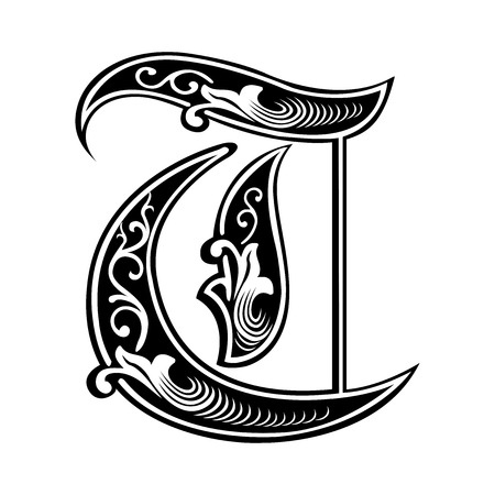 tatto: Beautiful decoration English alphabets, Gothic style, letter T