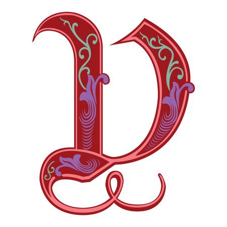 Beautiful decoration English alphabets, Gothic style, letter V Illustration