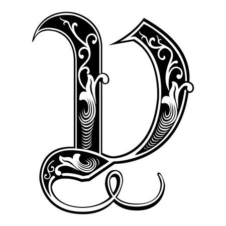 Beautiful decoration English alphabets, Gothic style, letter V Vector