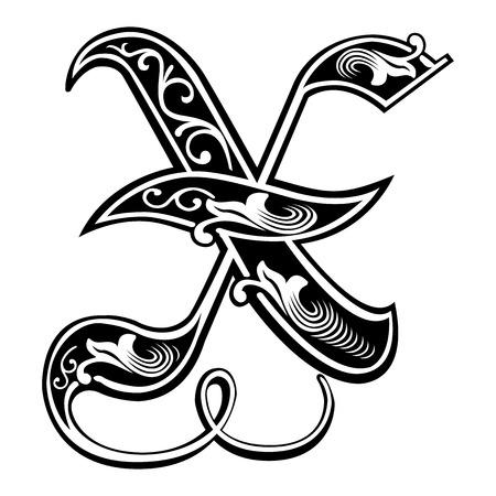 gothic style: Beautiful decoration English alphabets, Gothic style, letter X
