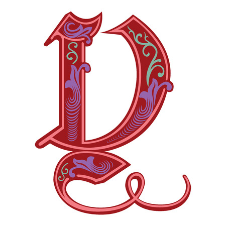 Beautiful decoration English alphabets, Gothic style, letter Y Vector