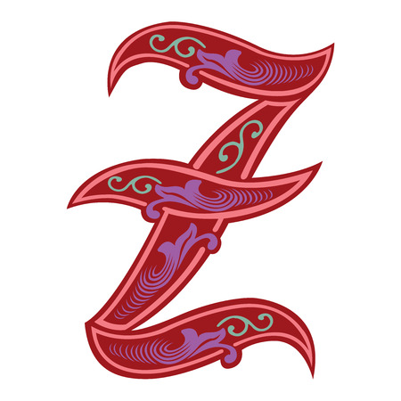 Beautiful decoration English alphabets, Gothic style, letter Z Vector