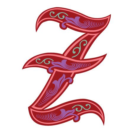 tatto: Beautiful decoration English alphabets, Gothic style, letter Z