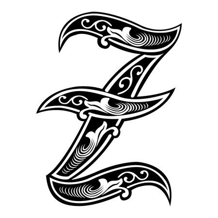 Bella decorazione alfabeti inglesi, in stile gotico, la lettera Z