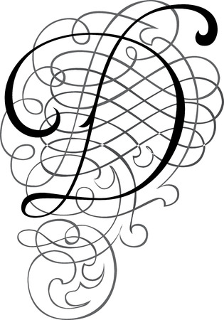 Calligraphic English alphabets, fashionable and stylish letter D Vector