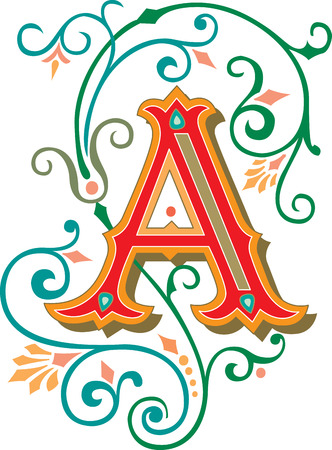 Beautifully decorated English alphabets, letter A Vector