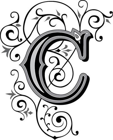 美しく装飾された英語アルファベット手紙 C