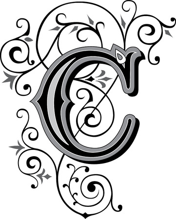 utsirad: Vackert inredda engelska alfabetet, bokstaven C