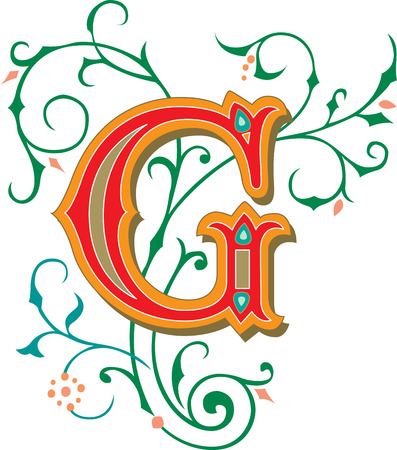 Beautifully decorated English alphabets, letter G Vector