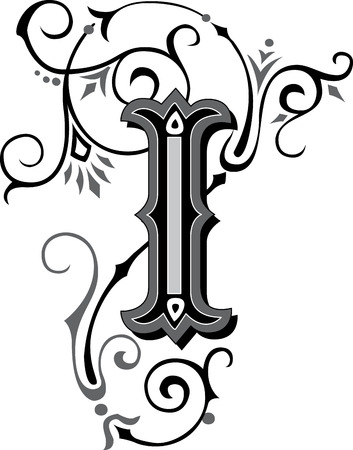 Beautifully decorated English alphabets, letter I
