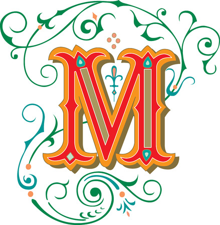 garnished: Beautifully decorated English alphabets, letter M