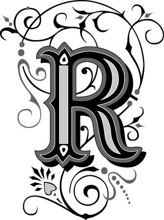 chapiteaux: Alphabets anglais joliment d�cor�es, lettre R