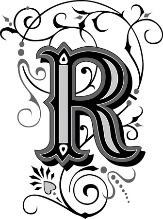Beautifully decorated English alphabets, letter R Vector