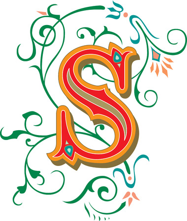 garnished: Beautifully decorated English alphabets, letter S Illustration