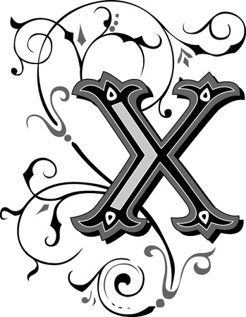 garnished: Beautifully decorated English alphabets, letter X
