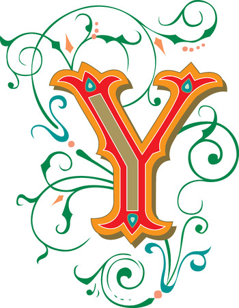 garnished: Beautifully decorated English alphabets, letter Y