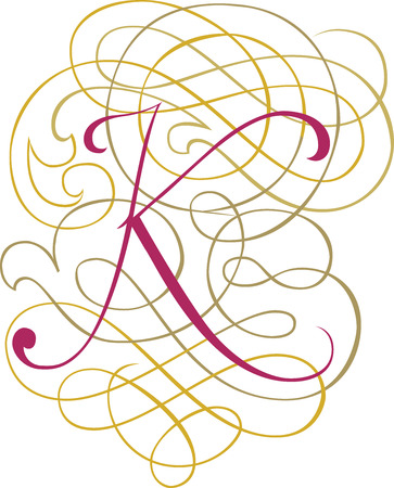Calligraphic English alphabets, fashionable and stylish letter K